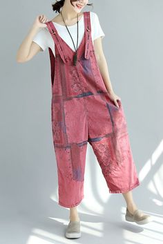 Womens Denim Wide Leg Overalls Comfy Loose Maternity Oversized Jumpsuit, Wine Red / One Size – comfy travel outfit summer Comfy Travel Outfit, Travel Outfit Summer, Summer Outfits, Baggy Jumpsuit, Baggy Dungarees, Harem Trousers, Denim Overalls, Womens Dungarees, Wide Leg Denim