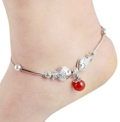 10088 de plata tibetana tobillera cadenas pulsera de tobillo brazalete de la joyería de plata esterlina