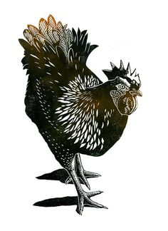 Hen 2-colour linocut print £32.00 by James Green Printworks