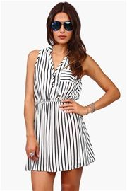 Black and White Striped Dress - White