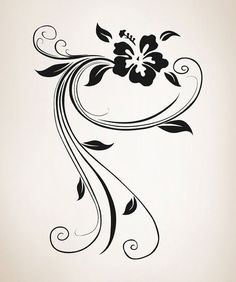 Vinyl Wall Decal Sticker Swirly Hibiscus OSAA377s by Stickerbrand