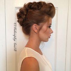 Fauxhawk updo by MakeupbyAnaB, hairstyle, upstyle, wedding, bride, hair, redhead, gorgeous, wedding hair, editorial hair, photoshoot hair