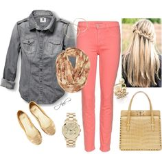 Coral Skinny Jeans. So cute