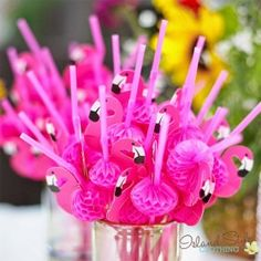 Cocktail 3D Straws Party Straws 25 pack flamingos Luau Party Accessories
