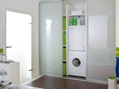 laundry room ideas stackable with home office area - Google Search