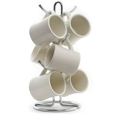 Diner Coffee Mug Set Cream Euro Tree Holder