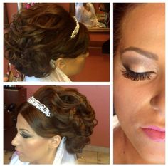 Soft elegant updo, bridal hair with tiara and veil, soft wedding makeup. By Houda Bazzi