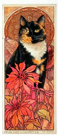 "#Cat Illustration in style of ""Alphonse Mucha"" - "" Lesley Anne Ivory Cat """