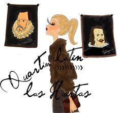 Quartier latin à Madrid Spain miss you <3 dessiné pour le blog talons aiguilles et bottes de cuir
