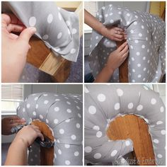 Upholstering the arm of a fainting couch toddler bed {Sawdust and Embryos}