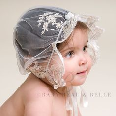 Champagne lace embroidery is gorgeous on this Girls Lace Bonnet