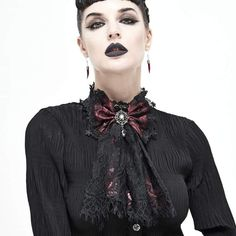 Brand:DEVIL FASHION Material:Polyester Weight:0.05KG Size:One Size Sku:AS07302 Women's Accessories, Chokers, Vintage Fashion, Ruffle Blouse, Punk, Lace, Devil, Red, Collection