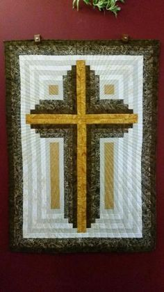 Projects From Log Cabin Christian Cross-multiple sizes Cross Patterns, Quilt Block Patterns, Pattern Blocks, Quilt Blocks, Patchwork Patterns, Log Cabin Quilt Pattern, Log Cabin Quilts, Barn Quilts, Log Cabins