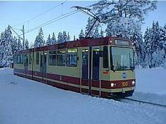 Tram in Snow in Trondheim Norway