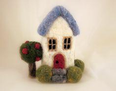 Custom Needle Felted Wool 180 Degree Miniature House Sculpture - Pre Order. $39.95, via Etsy.