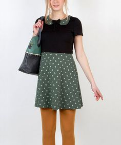 Take a look at this Green & Black Piñas Bow Dress by Titis Clothing on #zulily today!