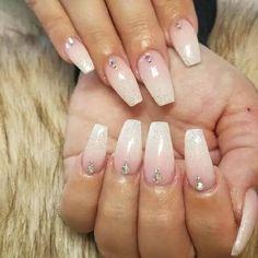 White Ombre Nails with Single Diamond Nails Homecoming Nails, Prom Nails, My Nails, Wedding Nails, Swag Nails, Diamond Nail Designs, Diamond Nails, Nails With Diamonds, Diamond Jewelry