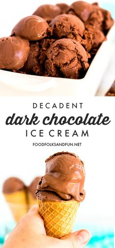 This Decadent Dark Chocolate Ice Cream will make all of your chocolatey dreams come true! It's rich, creamy, and the best chocolate ice cream I've ever had. Homemade Chocolate Ice Cream, Dark Chocolate Ice Cream, Homemade Strawberry Ice Cream, Making Homemade Ice Cream, Easy Ice Cream Recipe, Ice Cream Recipes, Shave Ice Syrup Recipe, Nutella, Bubble Gum Ice Cream