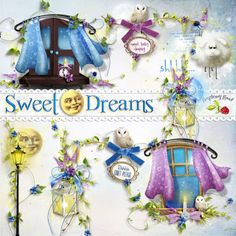 A set of bedtime themed side clusters designed to coordinate with the Sweet Dreams collection.