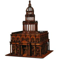 19th Century Neoclassical Stained Pine Architectural Model | From a unique collection of antique and modern architectural models at https://www.1stdibs.com/furniture/more-furniture-collectibles/architectural-models/