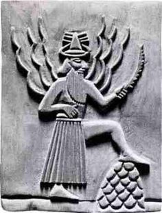 Utu, Sumerian Sun god of Justice  with foot on omphalos  water rays or lightning bolts