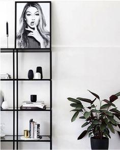 Black minimalist shelving unit