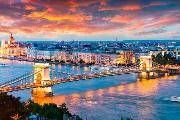 evening view of parliament and chain bridge in pest city. colorful sanset in budapest hungary europe. Party Activities, Budapest Hungary, Tower Bridge, San Francisco Skyline, New York Skyline, Photo Editing, Royalty Free Stock Photos, Europe, Pictures