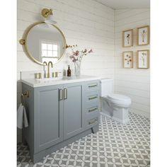 Single Sink Bathroom Vanity, Bathroom Vanity Cabinets, Downstairs Bathroom, Bathroom Renos, Grey Bathrooms, Bathroom Ideas, Bathroom Inspo, Master Bathroom, Family Bathroom