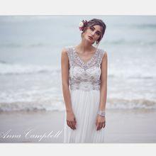 zomer stijl kleed de mariage 2015 nieuwe sparkly kristallen kralen lange chiffon zomer strand trouwjurken vestidos anna campbell(China (Mainland))