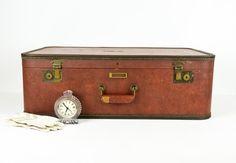 Vintage Brown 1940s Suitcase / Antique Luggage by tawneyvintage