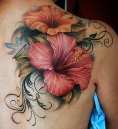 Hibiscus Flower Tattoos, Flower Thigh Tattoos, Flower Tattoo Shoulder, Sunflower Tattoos, Hibiscus Flowers, Hybiscus Tattoo, Pretty Tattoos, Nice Tattoos, Tatoos