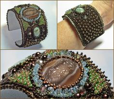 bead embroidery patterns free | To - Bead Embroidery Jewelry - Showing Beaded Cuff Bracelets | Designs ...