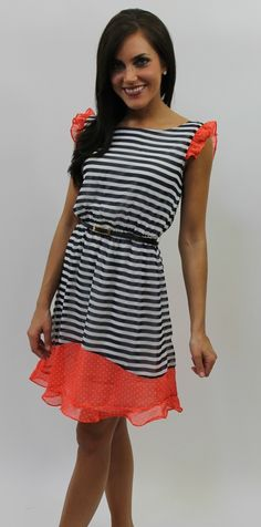 Dottie Couture Boutique - Belted Navy Striped Dress $46