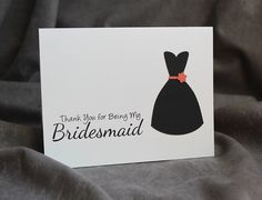 Thank You for Being My Bridesmaid Card - Customize Dress Style and Accent Color