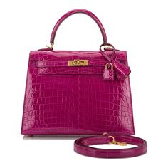 369fb9adac02 Hermes Rose Scheherazade Shiny Niloticus Crocodile Kelly 25cm Gold Hardware