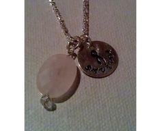 Breast Cancer Awareness Ribbon necklace survivor rose quartz $16.00