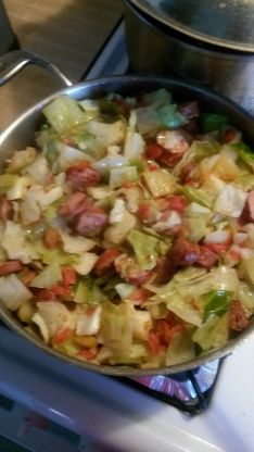 Southern Fried Cabbage With Sausage used green chili tomatoes for a little extra kick (Cabbage Recipes Southern) Cabbage Recipes With Sausage, Fried Cabbage And Sausage, Polish Sausage Recipes, Kielbasa And Cabbage, Cooked Cabbage, Southern Fried Cabbage, Cabbage And Potatoes, Cabbage Rolls, Cooking Recipes
