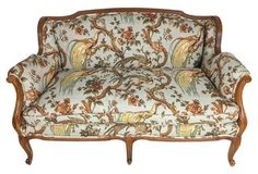 Louis XVI-Style French Settee in Toile
