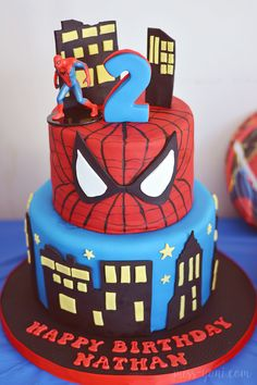 spiderman cakes - Google Search Spiderman Theme Party, Superhero Cake, Superhero Birthday Party, Cake Spiderman, Cupcakes, Cupcake Cakes, Torta Pj Mask, Mini Party, 2 Birthday Cake