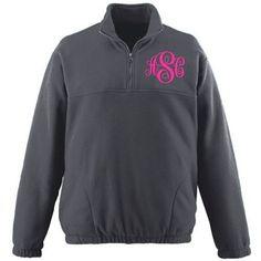 Monogrammed Fleece 1/2 Zip Jacket Pick your Font by Monogramjunkie, $39.99