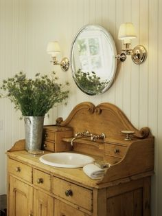Repurpose a dining buffet and give your bathroom charm.