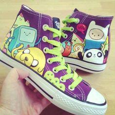 adventure time, converse, and shoes image Adventure Time Shoes, Abenteuerzeit Mit Finn Und Jake, Estilo Geek, Adveture Time, Painted Canvas Shoes, Jake The Dogs, Shoe Art, Custom Shoes, Swagg