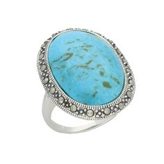 Turquoise Ring Oval Marcasite Edged Silver | C W Sellors Fine Jewellery and Luxury Watches
