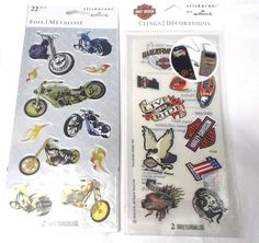Harley Davidson stickers lot Stickeroni clings foil Hallmark two packs 4 sheets #Hallmark