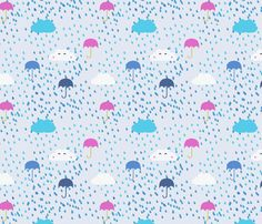 Pink Umbrellas and Raindrops fabric by pixabo on Spoonflower - custom fabric