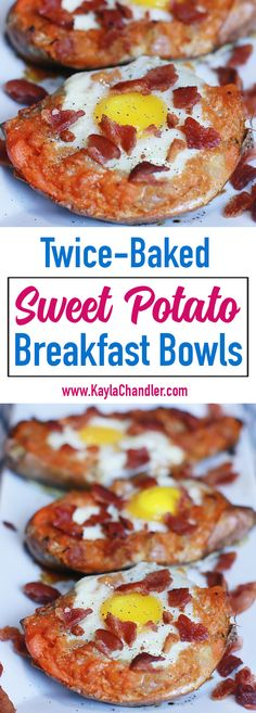 Paleo-Friendly Twice Baked Sweet Potato Breakfast Bowls (to DIE for!).... #glutenfree #breakfast
