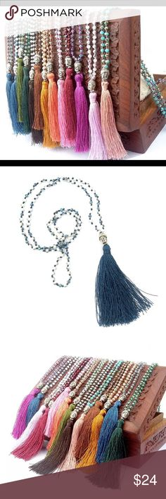 Boho style silver Buddha tassel necklace Boho style silver Buddha tassel necklace, approximately 29-31 inches long. Super chic and boho glam. Have remaining colors as pictured in last pic. Indicate which color you are choosing: dark green; light green; blue; pink; rose light pink; fuchsia; brown. Limited quantities available. Jewelry Necklaces