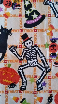 Tricky Treats Alexander Henry Cotton Craft Fabric 1 Yard Skeleton Halloween  #AlexanderHenry