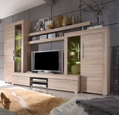 Modern wall unit in the color of rough sawn oak including front and body: Sonom . Living Room Wall Units, Living Room Tv Unit Designs, Living Room Decor, Tv Cabinet Design, Tv Wall Design, Tv Unit Furniture, Furniture Design, Painel Tv Sala Grande, Tv Wanddekor