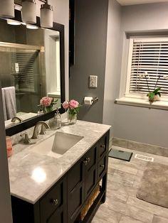 OUR BATHROOM REMODEL! Vanity and mirror: Wayfair (https://www.wayfair.com/home-improvement/sb1/bathroom-vanities-c527058-p86235~48~55.html?sortby=2) Floor tile: Home Depot Lighting fixture: Home Depot